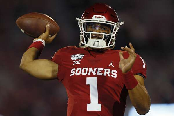 NORMAN, OK - NOVEMBER 9: Quarterback Jalen Hurts #1 of the Oklahoma Sooners throws before a game against the Iowa State Cyclones on November 9, 2019 at Gaylord Family Oklahoma Memorial Stadium in Norman, Oklahoma. OU held on to win 42-41. (Photo by Brian Bahr/Getty Images)