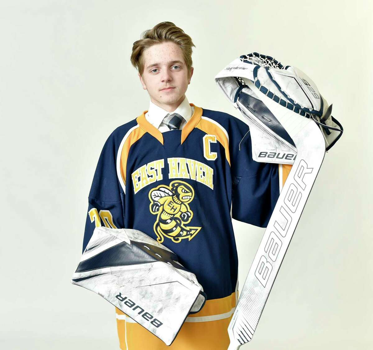 New Haven, Connecticut - Tuesday, March 26, 2019: WINTER ALL AREA PLUS - BOYS HOCKEY: Logan Hamilton, East Haven HS