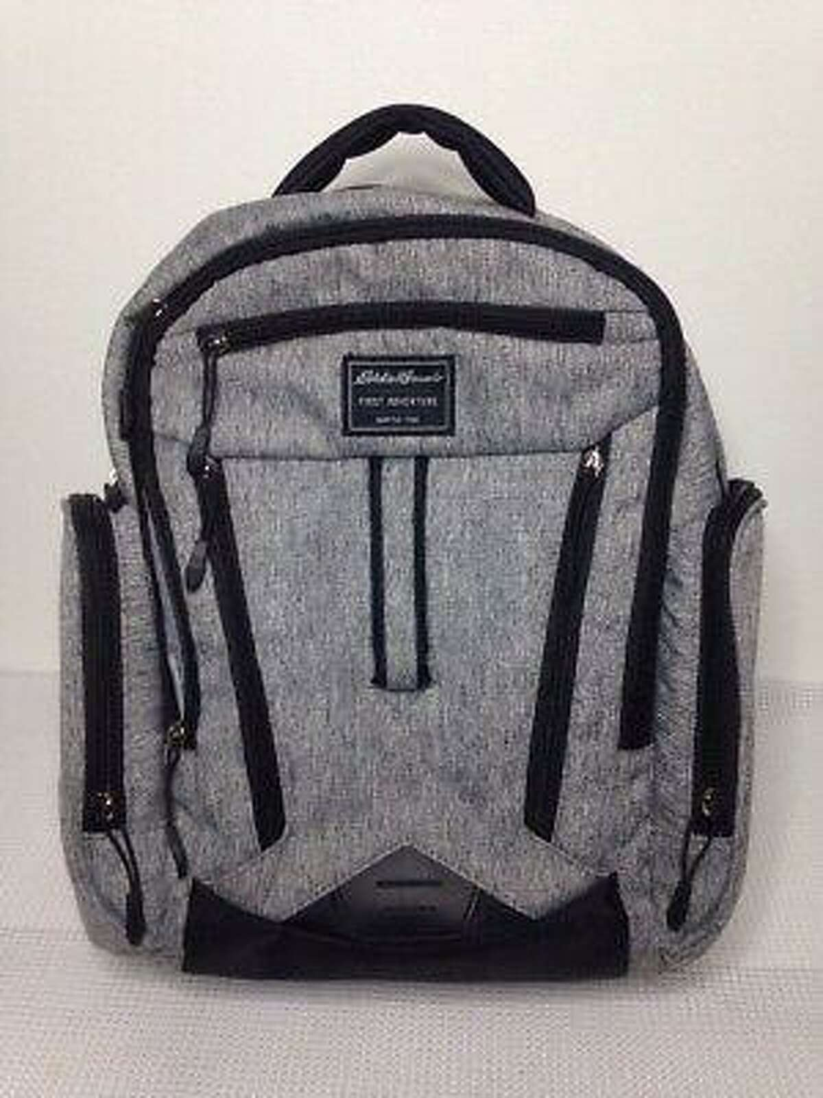 A stock image of the heather grey Eddie Bauer diaper bag backpack used by Christine Holloway to care for her 1-year-old daughter Vanessa Morales.