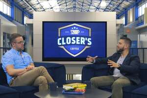 Closer's Coffee is a social media platform that provides sales advice, encourages users to share their sales techniques and provides fantasy football-like competitions based on individuals' sales performances. Pictured in this screenshot from a Closer's Coffee video is Chris Buckner, left, co-founder of a Houston company, and Carlos Figarella, host of the video series.