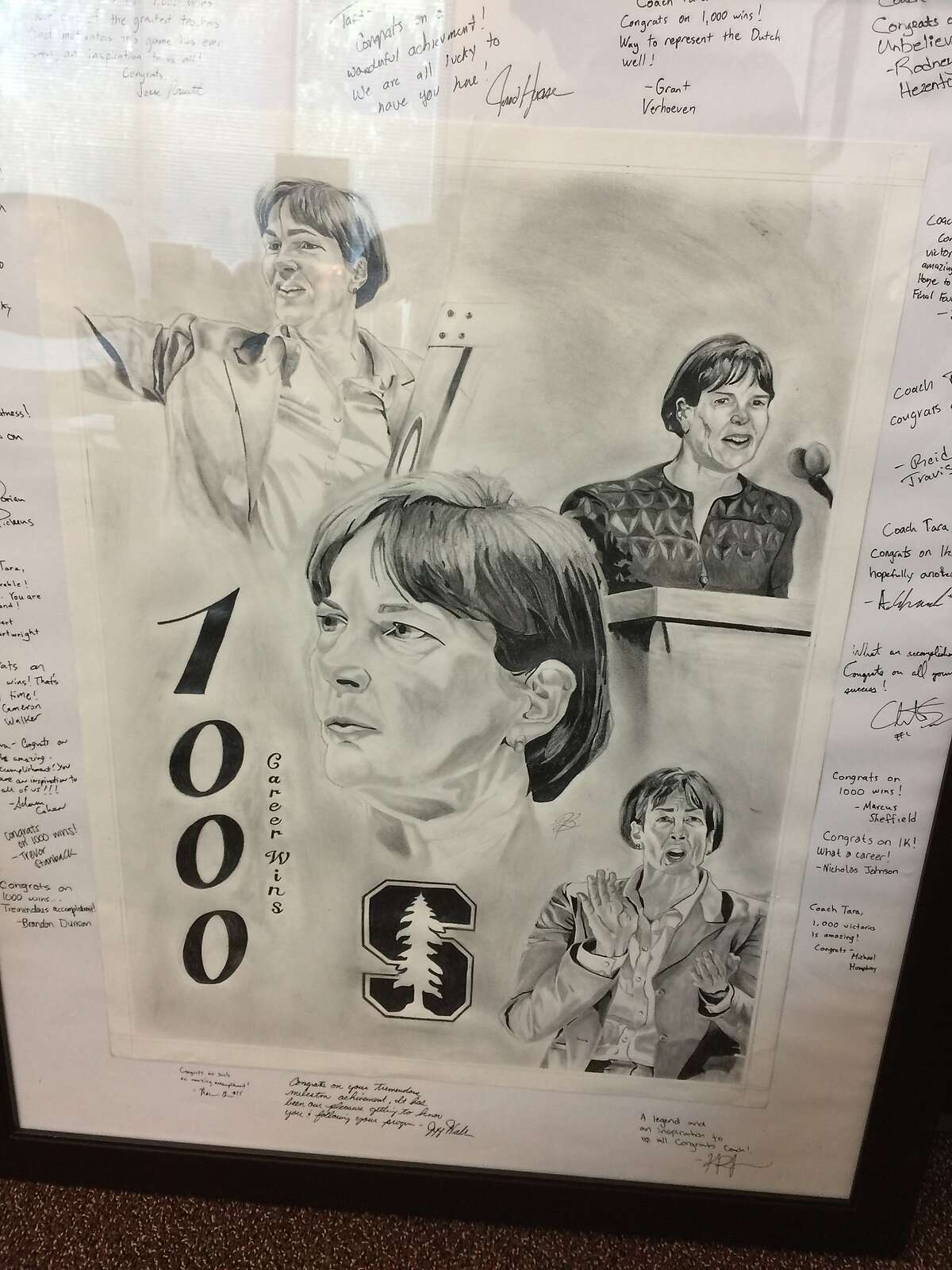 Artist Kodye Pugh, while a redshirt freshman junior on Stanford men�s basketball team, honored Tara VanDerveer 1,000th win at Stanford Women's basketball Head Coach with his graphite drawing in February 2017. He and the men�s basketball team signed the drawing and the presented the artwork to Tara the day after her 1,000th victory.