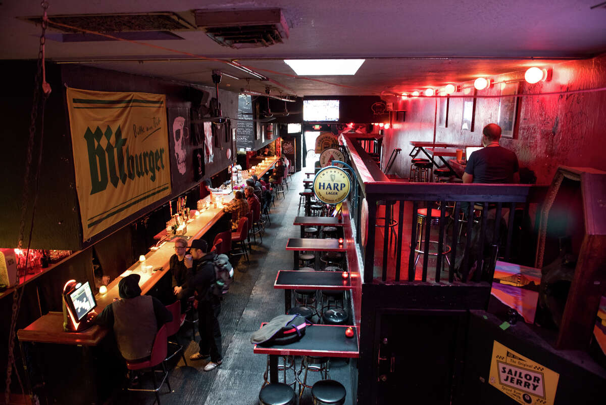 The interior of Lucky 13, which once had the longest bar in the city.