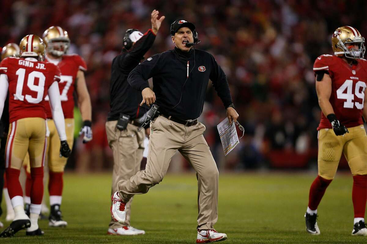 San Francisco 49ers head coach Jim Harbaugh reacts to a call during the second quarter during the NFL divisional playoff game against the Green Bay Packers at Candlestick Park in San Francisco, Calif. on Saturday, January 12, 2013.