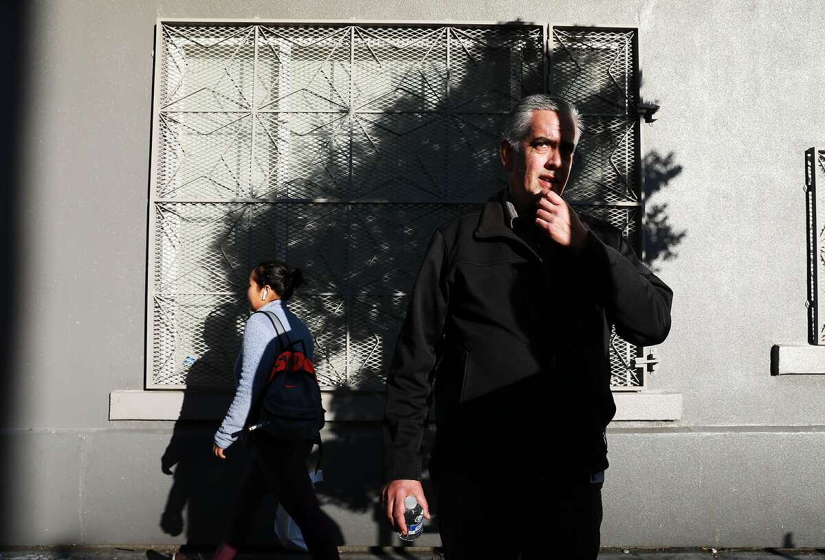 """Thomas Wolf, 49, a case manager at Salvation Army, speaks to The Chronicle as he stands on Hyde St. in San Francisco, Calif., on Tuesday, November 19, 2019. Wolf was an employed father of two, husband and homeowner in Daly City before succumbing to opioid addiction and winding up homeless on the streets of the Tenderloin. Wolf has been sober since Sunday, June 24, 2018, works at the Salvation Army, and has reconnected with his wife and children. """"I had lost all hope. I had lost all faith. I had lost everything,"""" Wolf said. """"I'm here by the grace of God."""""""