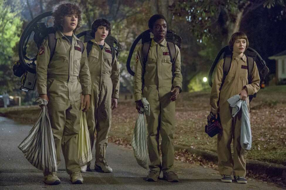 Gaten Matarazzo, Finn Wolfhard, Caleb Mclaughlin and Noah Schnapp in Netflix's