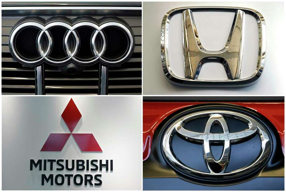 This undated combination of photos shows logos for clockwise from top left, Audi, Honda, Toyota and Mitsubishi Motors. The National Highway Traffic Safety Administration said in documents posted Thursday, Dec. 19, 2019, that it is investigating Audi, Toyota, Honda and Mitsubishi in connection with a Takata recall involving 1.4 million inflators. The inflators made by the now-bankrupt Takata have a new and distinct problem that can cause them to blow apart a metal canister and spew shrapnel into people's faces and bodies. (AP Photo) / Copyright 2019 The Associated Press. All rights reserved.