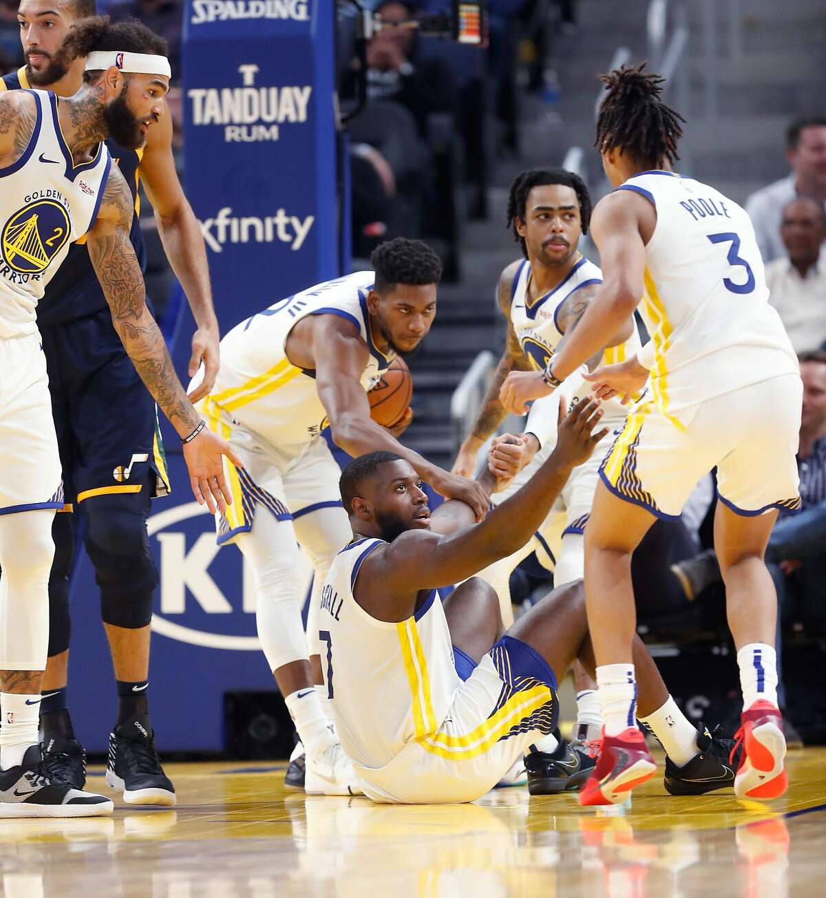 Golden State Warriors' Eric Paschall, Glenn Robinson III, D'Angelo Russell, Jordan Poole and Willie Cauley-Stein during Warriors' 122-108 loss to Utah Jazz in NBA game at Chase Center in San Francisco, Calif., on Monday, November 11, 2019.