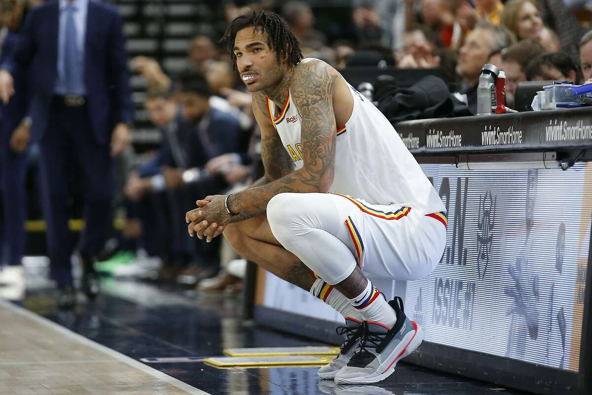 Golden State Warriors center Willie Cauley-Stein waits to enter the game in the second half during an NBA basketball game against the Utah Jazz Friday, Dec. 13, 2019, in Salt Lake City. (AP Photo/Rick Bowmer)