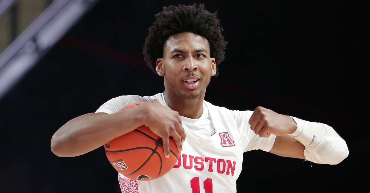 Houston guard Nate Hinton (11) reacts after a turnover during the second half of their game against UTEP Thursday, Dec. 19, 2019 in Houston, TX.