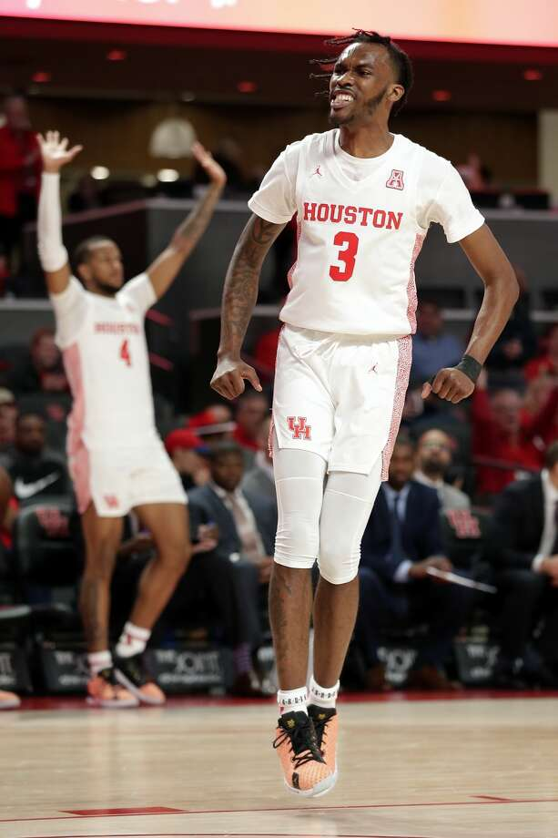 Houston guard DeJon Jarreau (3) reacts after a dunk during the second half of their game against UTEP Thursday, Dec. 19, 2019 in Houston, TX. Photo: Michael Wyke/Contributor