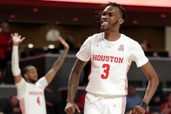 Houston guard DeJon Jarreau (3) reacts after a dunk during the second half of their game against UTEP Thursday, Dec. 19, 2019 in Houston, TX.