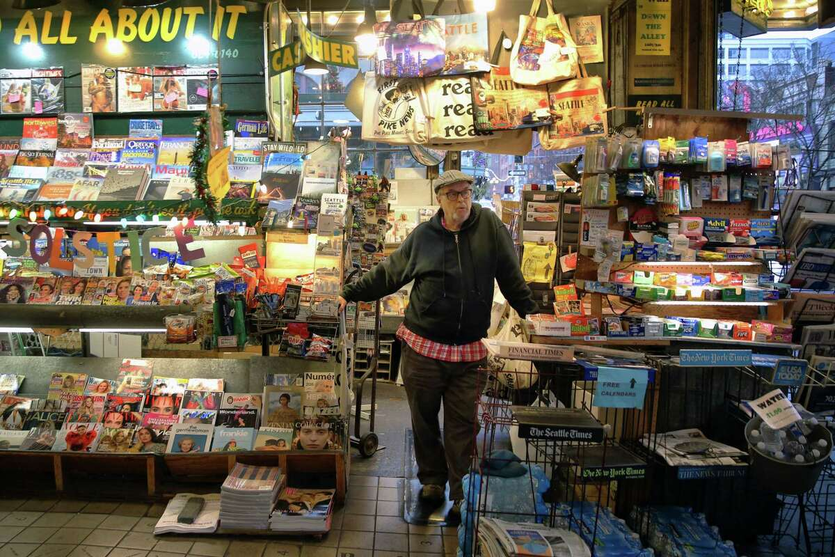 Lee Lauckhart opened First and Pike News 40 years ago and will now be closing down the Pike Place landmark at the end of the year. Photographed Dec. 19, 2019.