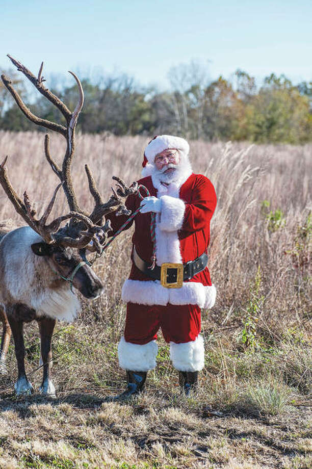 """Santa's """"cousin,"""" Steve Pegram, shares a moment with a reindeer during a holiday photo shoot in Jersey County. Pegram tells children there's only one Santa, but St. Nick has many cousins. Photo: Jody Jedlicka 