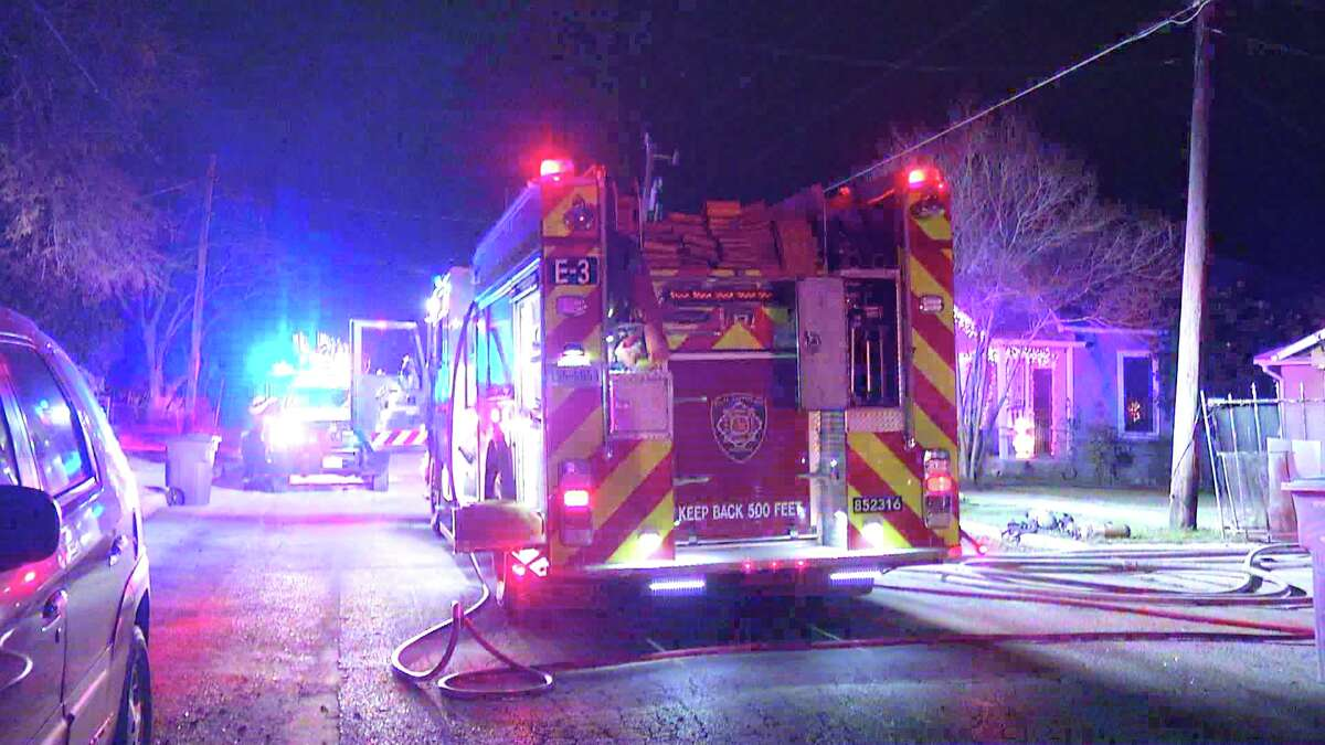 A San Antonio Fire Department engine slid into an embankment on early Sunday morning.