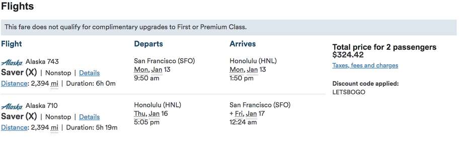 Wow! $325 round trip for two means just $163 per person... SFO to Honolulu round trip. Deal! Photo: Alaska Air