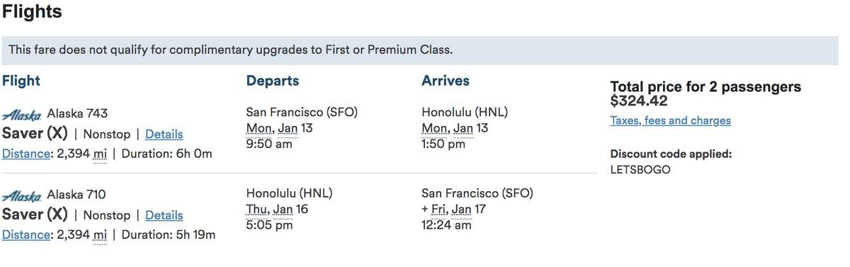 Wow! $325 round trip for two means just $163 per person... SFO to Honolulu round trip. Deal!