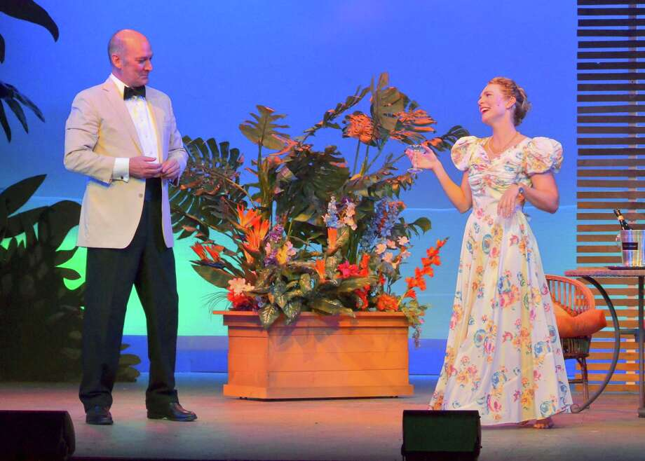 "David Pittsinger is the sophisticated French planter Emile de Becque and Adrianne Hick is the naive nurse Nellie Forbush who falls under his spell in the Rodgers and Hammerstein musical ""South Pacific"" at the Ivoryton Playhouse in 2015. Performances will take place at Goodspeed in East Haddam from April 17 through June 28, 2020. Photo: Contributed Photo / Contributed Photo / Connecticut Post Contributed"