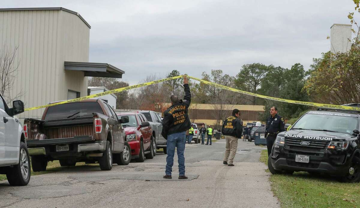 Houston Police conduct a search Friday, Dec. 20, 2019, in Houston of an abandoned lab at 1143 Brittmoore where a teen allegedly stole mercury on Dec. 13.
