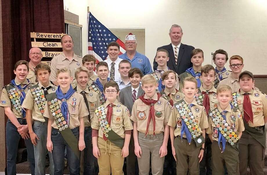 At a ceremony on Dec. 14, 33 Boy Scouts were recognized for the community service projects they did in an effort to earn their Eagle Scout rank. Photo: Provided