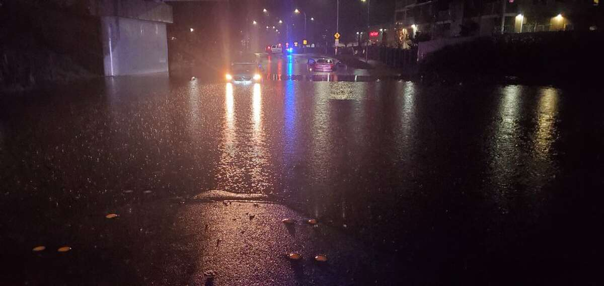 Flooding as seen on Hardie Avenue SW just under the railroad overpass in Renton.