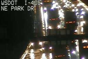 Standing water as seen on Interstate 405.