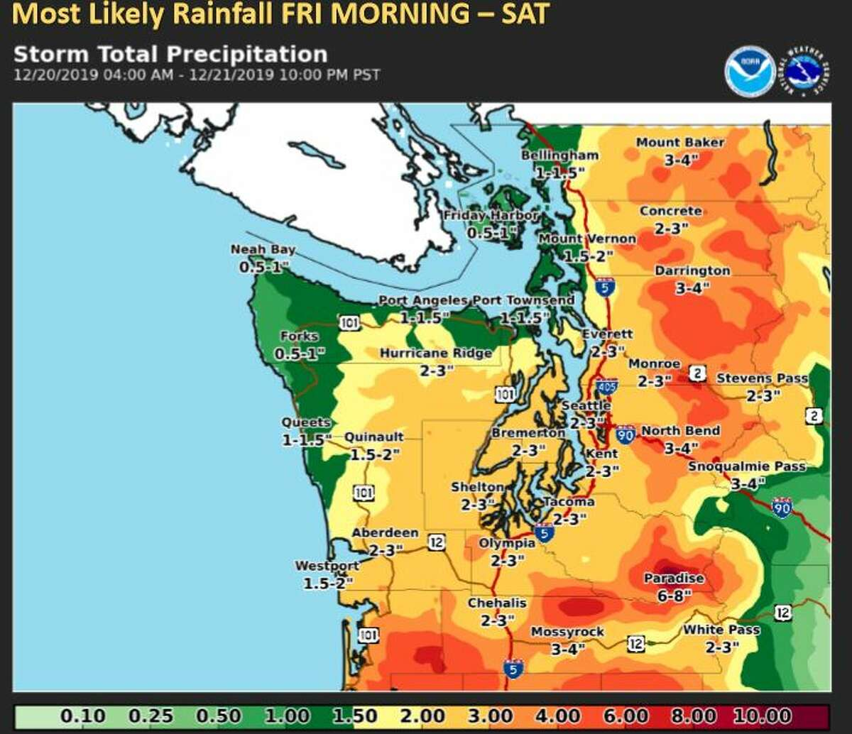 Projected rain totals for Friday and Saturday.