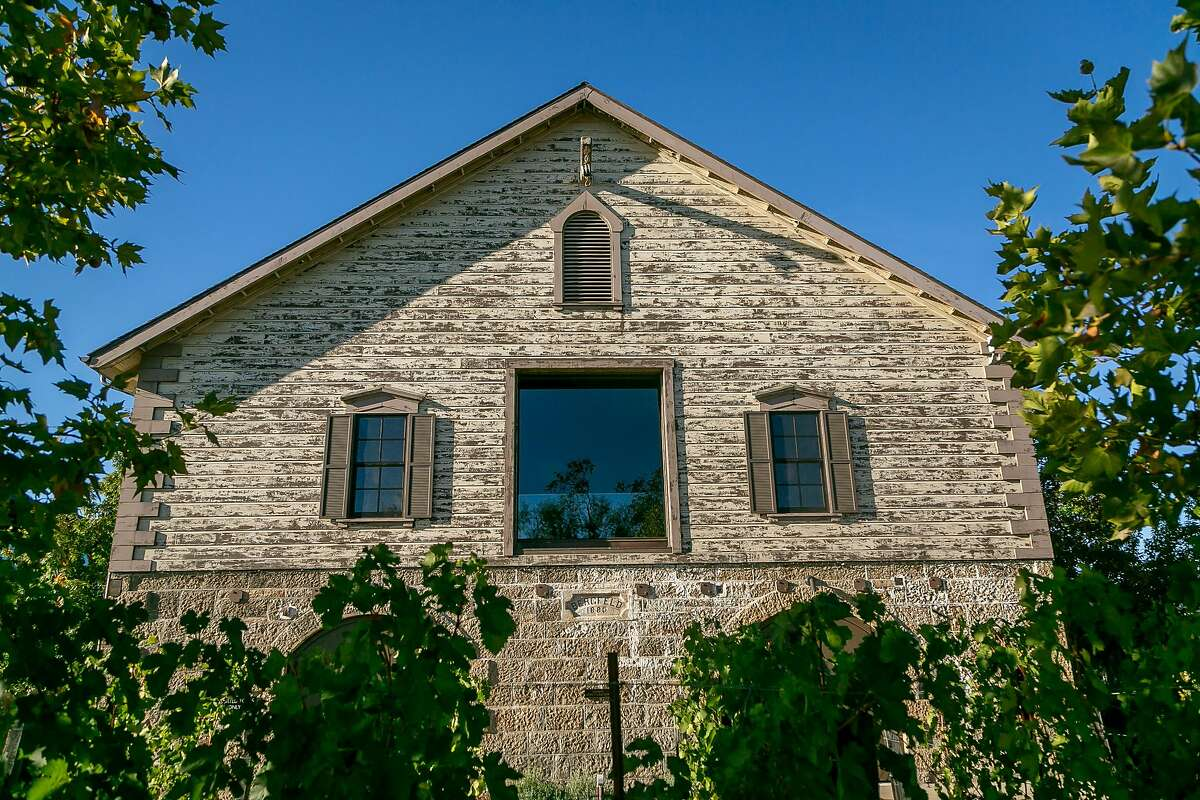 """The exterior of Hall winery, a """"Ghost"""" winery in St Helena, Calif. is seen on October 24th, 2018."""