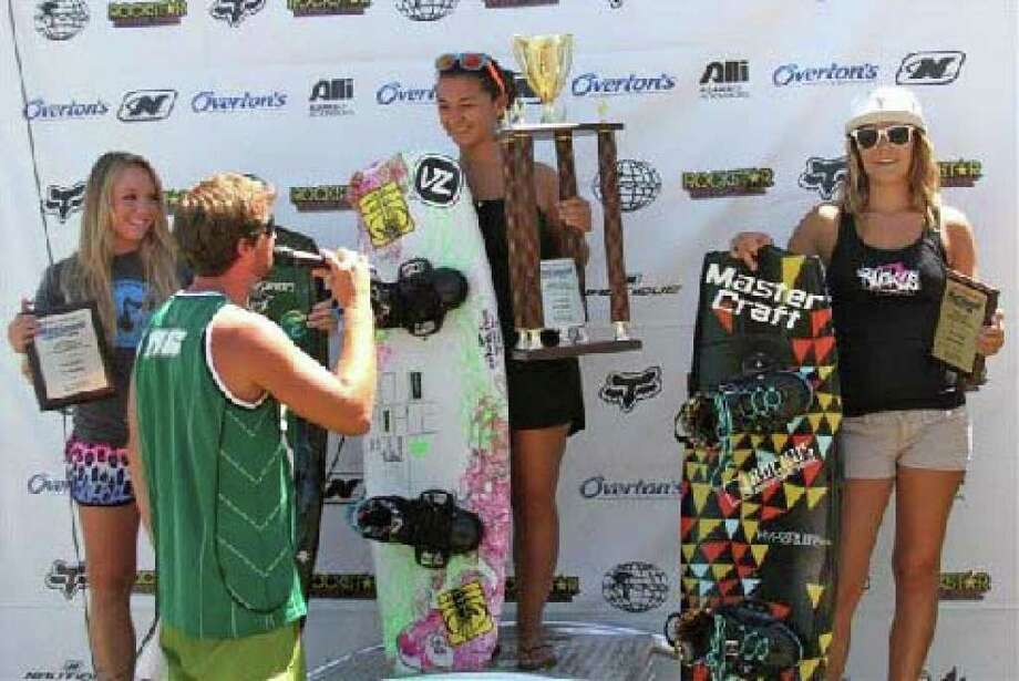 Greenwich's Tori Koch holds her winner's tropy at the 2010 Nautique National Championships in Reno, Nevada. Koch won the Junior Women's crown. Photo: Contributed Photo / Greenwich Time Contributed