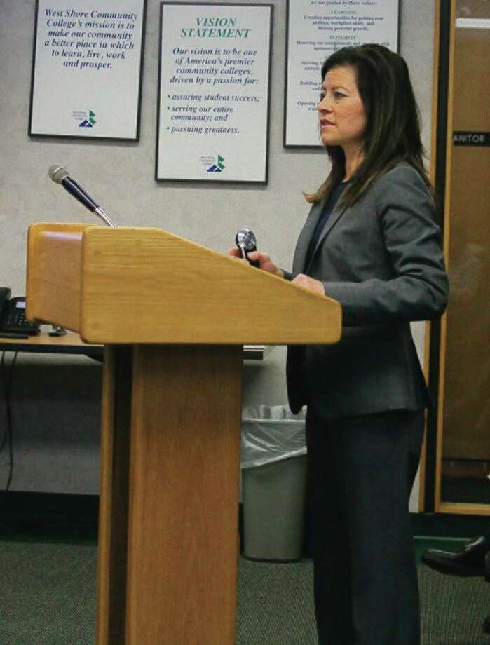 Wendy Gradwohl Wells delivers a report on the study she did for on campus housing at West Shore Community College. (Ken Grabowski/News Advocate)