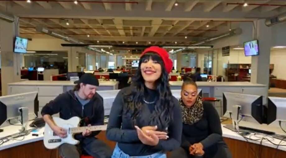Houston singer Tia Gold performs inside the Chronicle offices. Photo: Joey Guerra/screenshot