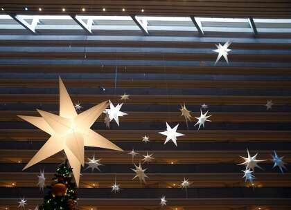 Christmas decorations will be on display in the lobby of the Hyatt Regency in San Francisco, California on Tuesday, November 26, 2019.  Several new rooms have been furnished with expansive views of the Ferry Building, Bay Bridge and the East Bay Hills.
