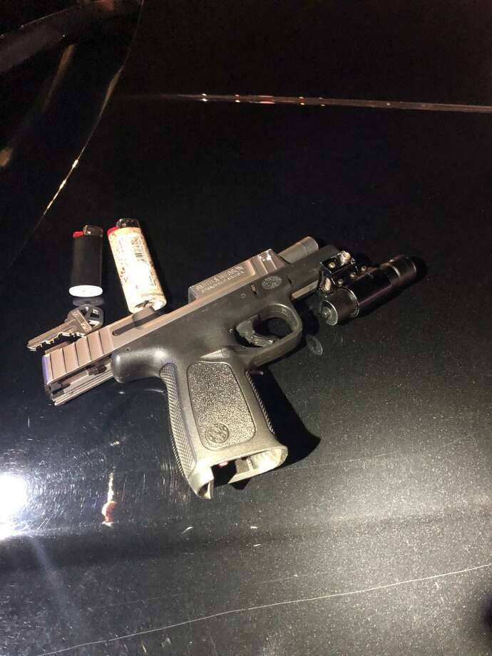A Smith & Wesson 9 mm handgun was found in the pocket of a 17-year-old Stamford man on Thursday. The gun, which had a 16-round capacity magazine, was loaded with eight rounds, including one bullet in the chamber, according to police. The 17-year-old was arrested for illegally possessing the gun. Photo: Stamford Police Department