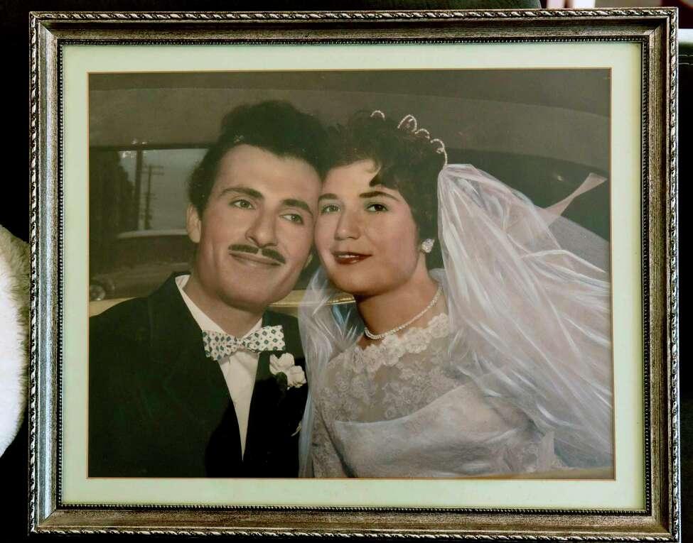 Wedding photo of Oswaldo Riccio and his late wife Pupa is seen in Riccio's home on Friday, Dec. 20, 2019 in Albany, N.Y. (Lori Van Buren/Times Union)