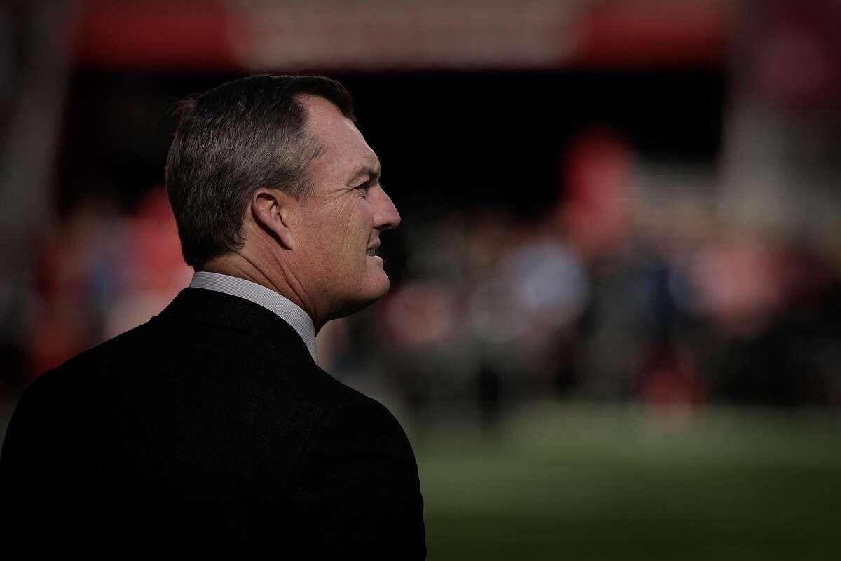 San Francisco 49ers general manager John Lynch on the sidelines before the San Francisco 49ers play the Atlanta Falcons at Levi's Stadium in Santa Clara, Calif., on Sunday, December 15, 2019.