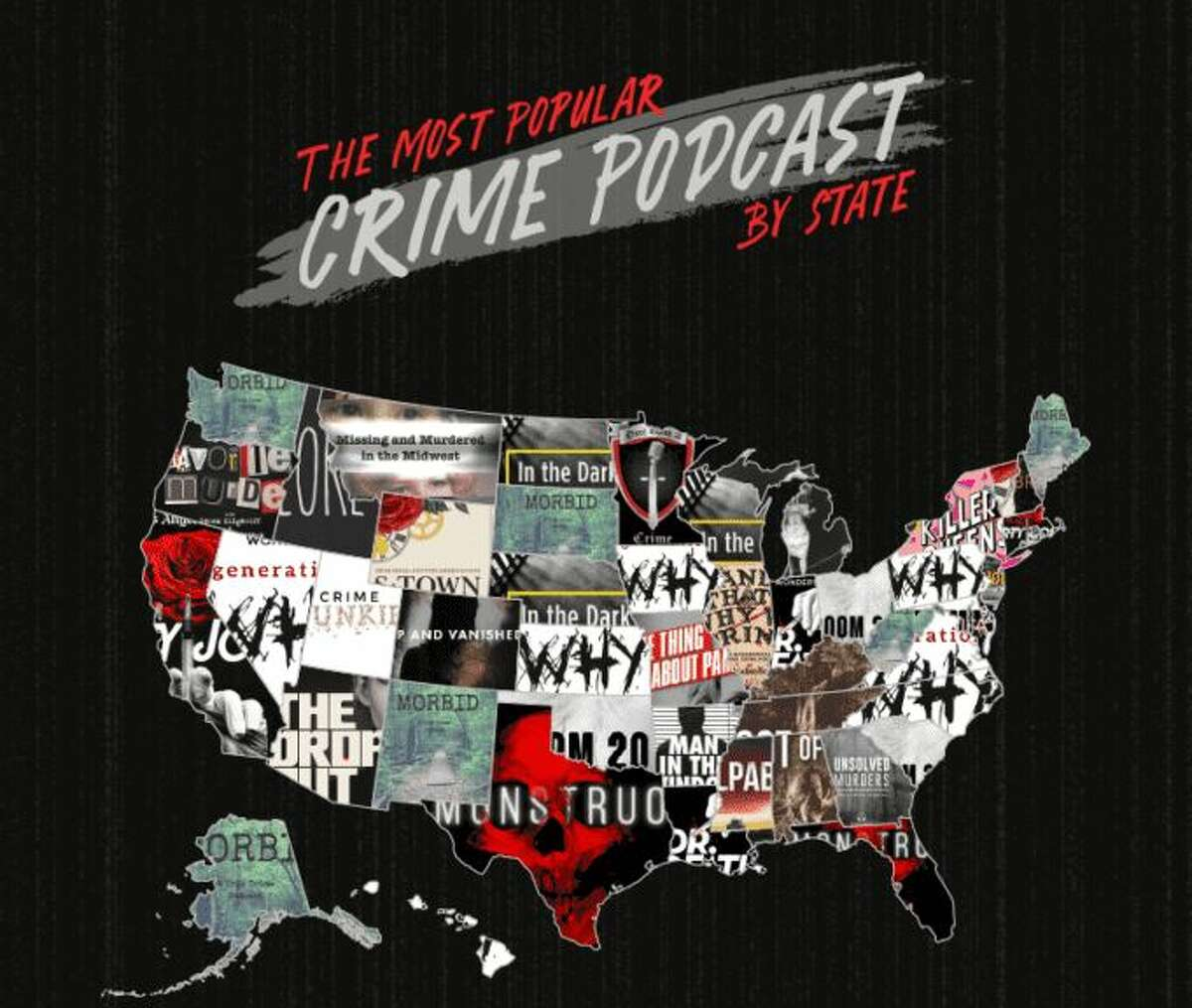 The Most Popular podcast by state. In Texas, the most popular true-crime podcast is Monstruo, which are chilling tales of real-life, haunting cases that will make you afraid of the dark.