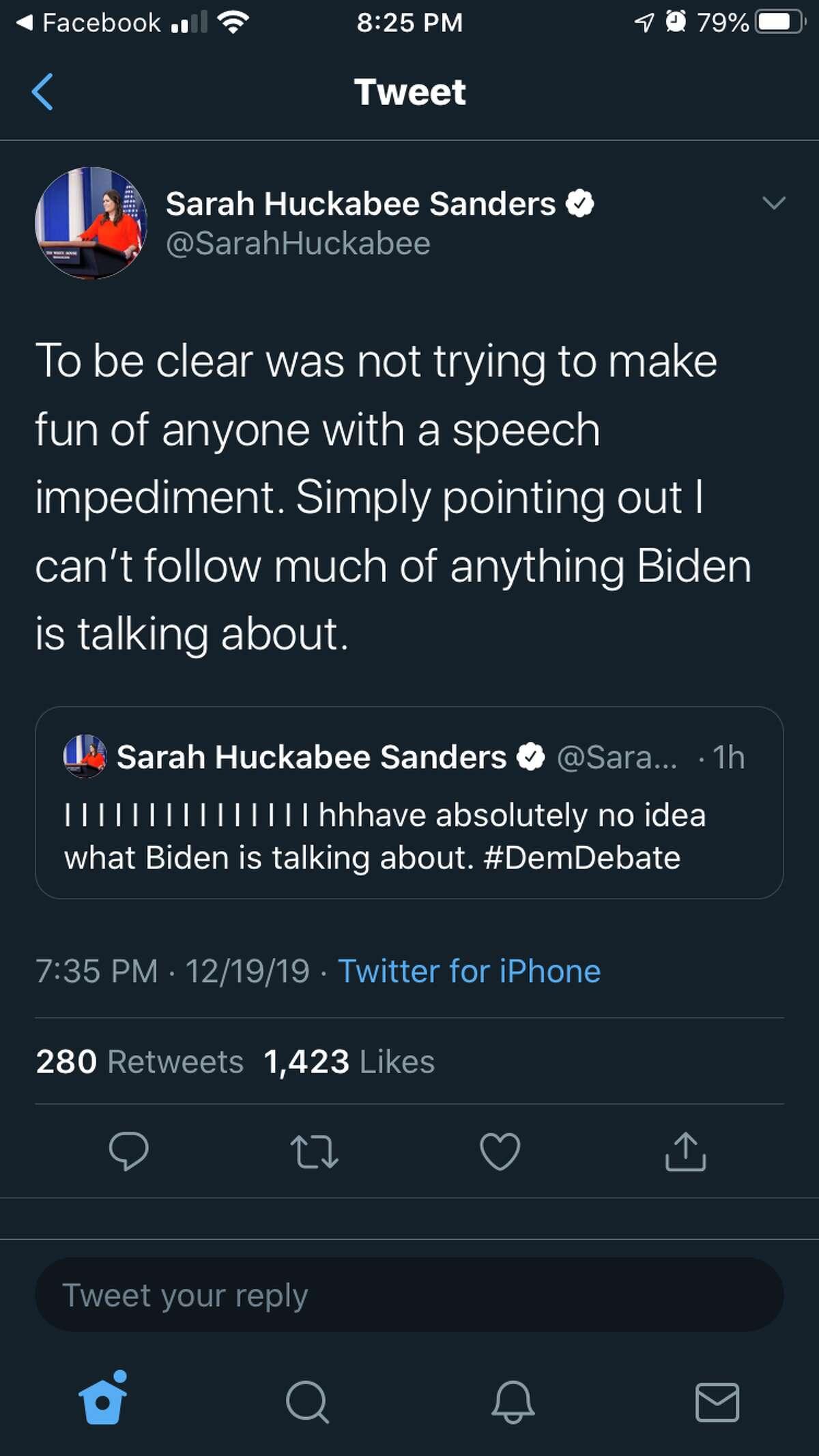 Sarah Huckabee Sander's first attempt to clarify her tweet about former Vice President Joe Biden.