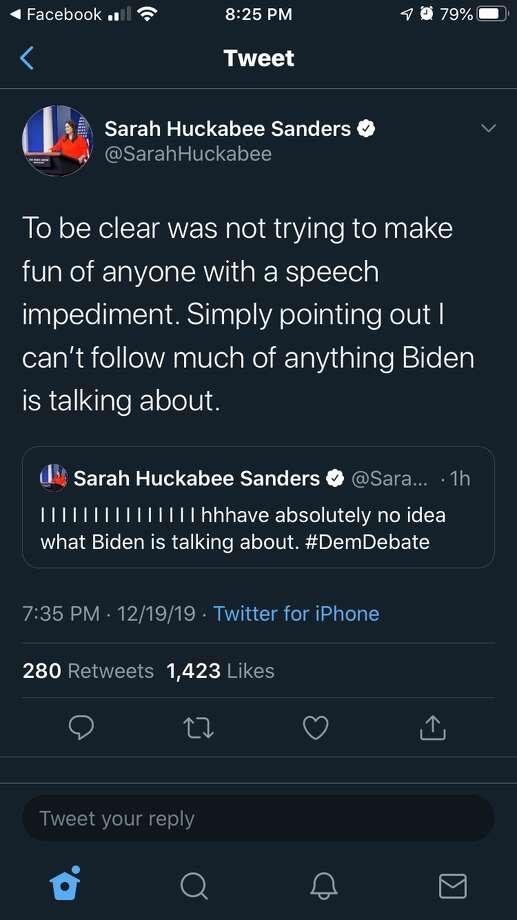 Sarah Huckabee Sander's first attempt to clarify her tweet about former Vice President Joe Biden. Photo: Via Twitter