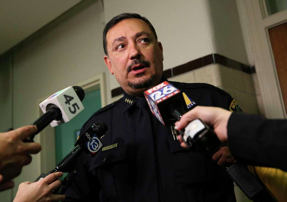 Houston Police Chief Art Acevedo speaks a bout school safety and gun violence issues after a lunch meeting with more than a dozen Lamar High School students on Tuesday, Nov. 27, 2018, in Houston. The meeting was sparked by Lamar High School senior Elizabeth Nelson-Fryar, 17, writing a letter to tell Houston Mayor Sylvester Turner that she was losing hope following recent shooting outside of the high school that killed one student. Turner, several city officials and Houston Independent School Distrct officials were also in the meeting.