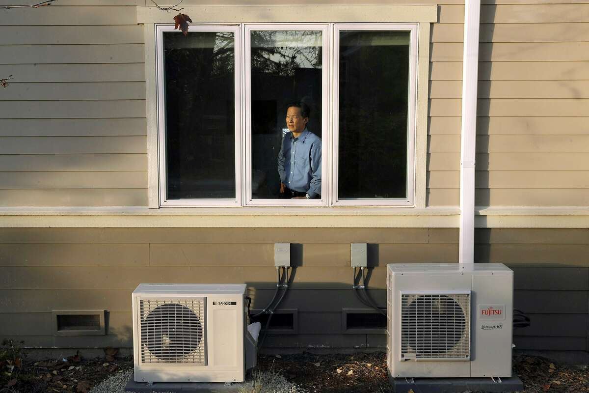 Kwok has compressors for the water heater and ductless heating and cooling units at his Lafayette home, which he converted to electric power.