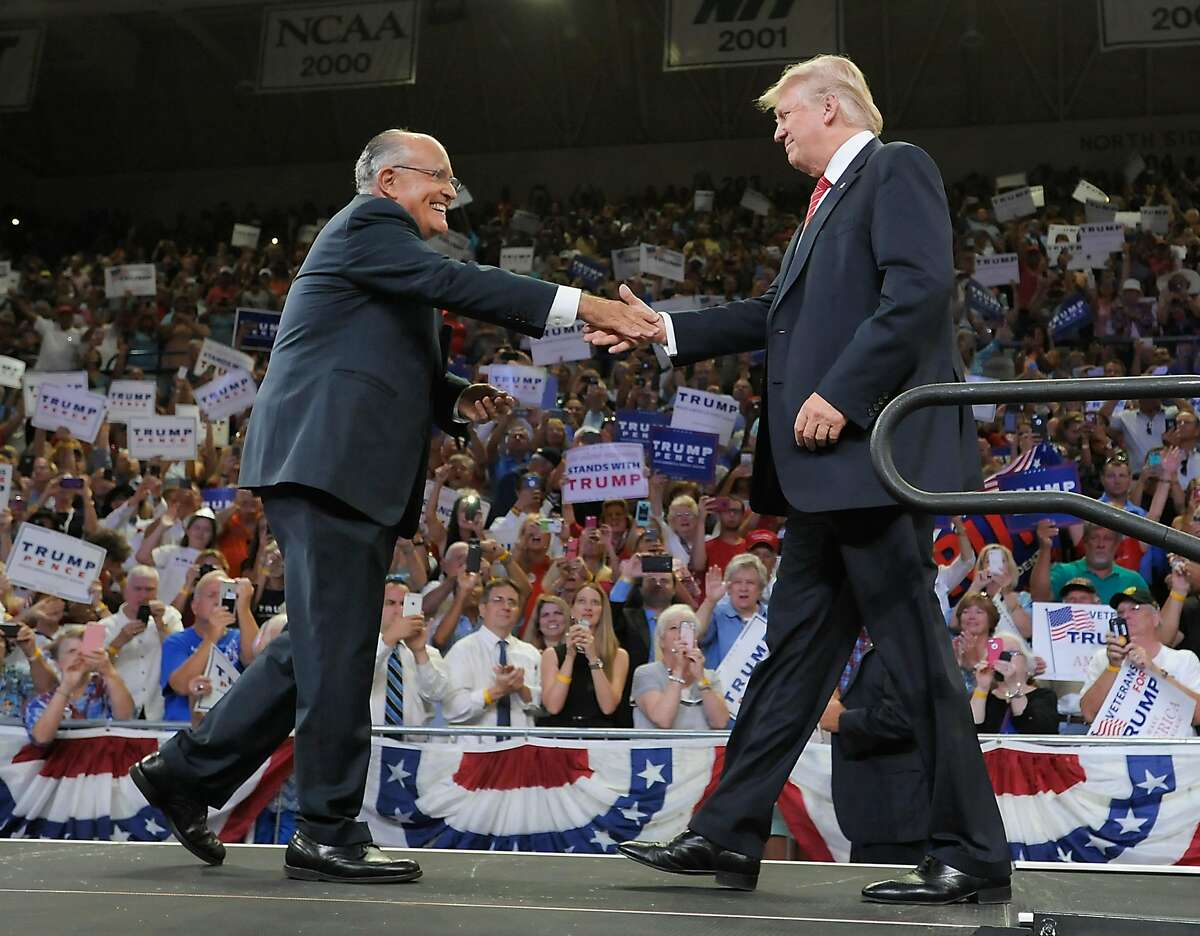 WILMINGTON, NC - AUGUST 9: Former New York City Mayor Rudy Giuliani introduces Republican presidential candidate Donald Trump during a campaign event at Trask Coliseum on August 9, 2016 in Wilmington, North Carolina. This was Trump's first visit to south