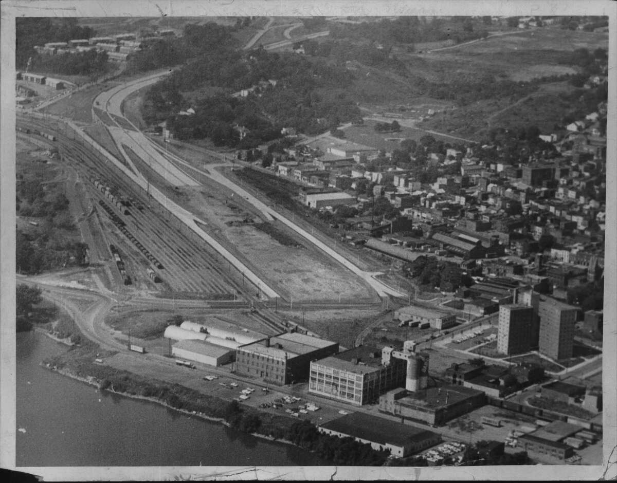 Aerial view of Route 787 construction in Albany, New York. September 15, 1966 (Times Union Archive)