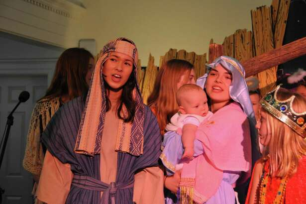 The Holy Family as portrayed by, from left, Aki Lasher, Oliver Wilson, Kaylie Berghaus and Liesel Schmauch.