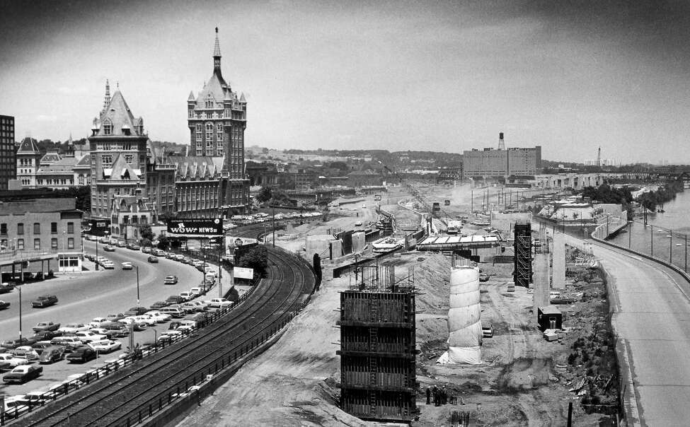Broadway with Delaware and Hudson building on the Albany riverfront during bridge or 787 construction, updated 1970s, during construction of South Mall in Albany, N.Y. (Times Union archive)