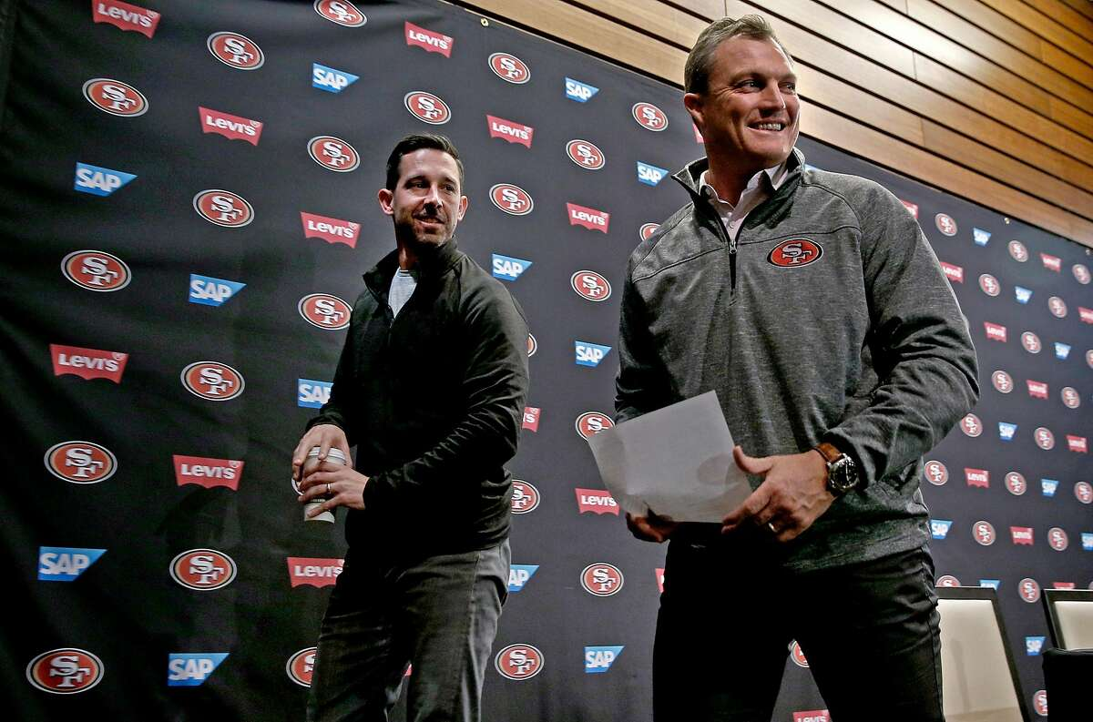 San Francisco 49ers' head coach Kyle Shanahan, (left) and general manager John Lynch finish up the final press conference of the season at Levi's Stadium in Santa Clara, on Tues. January 2, 2018.