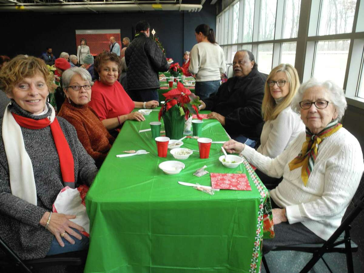 Among those attending the Parks and Recreation Lunch for seniors last month were, from left, T.M. McAculey, Carmen Cruz, Annie Brock, Wallace Brock, Lisa Thomas and Jeanette Dressing.