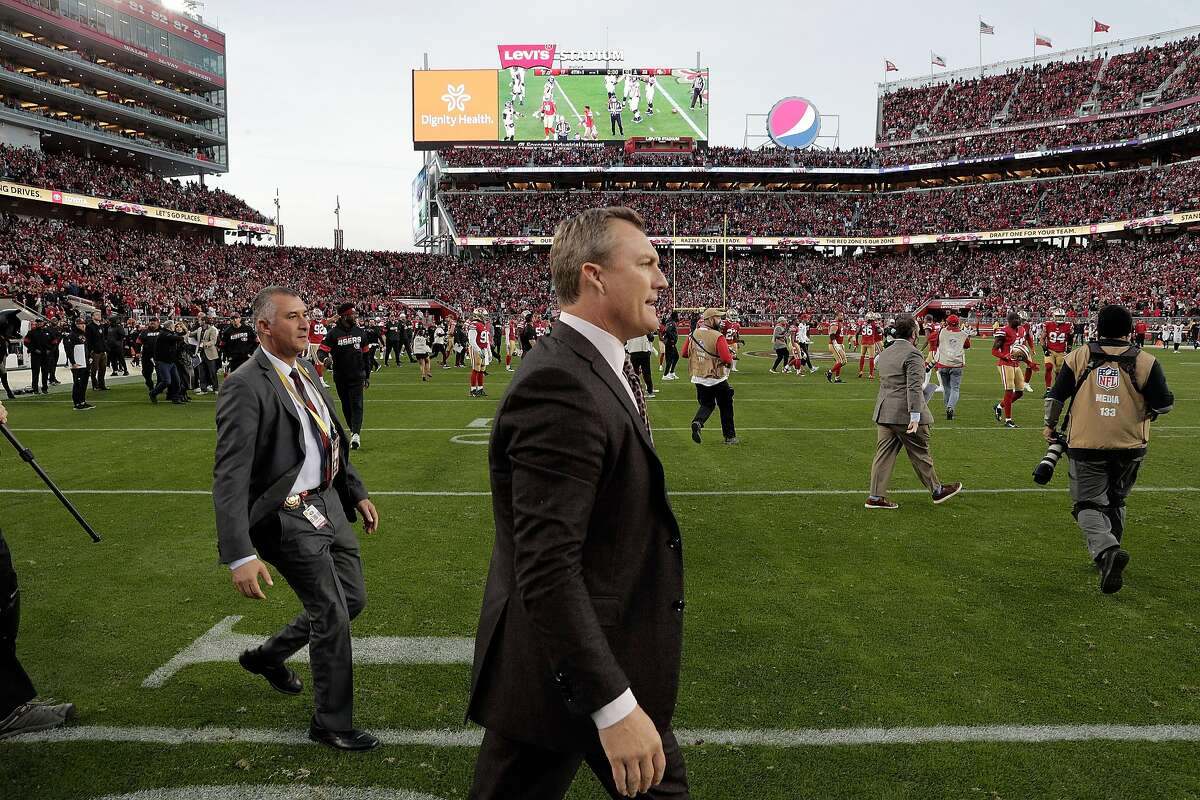 San Francisco 49ers general manager John Lynch walks onto the field after the San Francisco 49ers were defeated 29-22 by the Atlanta Falcons at Levi�s Stadium in Santa Clara, Calif., on Sunday, December 15, 2019. The