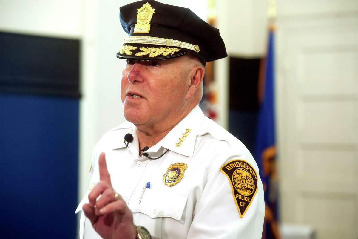 """Police Chief Armando """"A.J."""" Perez speaks during an interview at the Police Training Academy, in Bridgeport on Apr. 29, 2019."""
