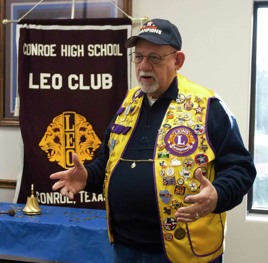 "Eddie Risha, member of the Conroe Noon Lions Club, speaks during a meeting of the Conroe High School LEO Club, Wednesday, Jan. 24, 2018, in Conroe. Members of the Conroe Noon Lions Club were on hand to help guide the new high school club. Risha was recently recognized by the Lake Conroe Centennial Lions Club for his work as a ""Guiding Lion"" with their club. Photo: Jason Fochtman, Staff Photographer / Houston Chronicle / © 2018 Houston Chronicle"