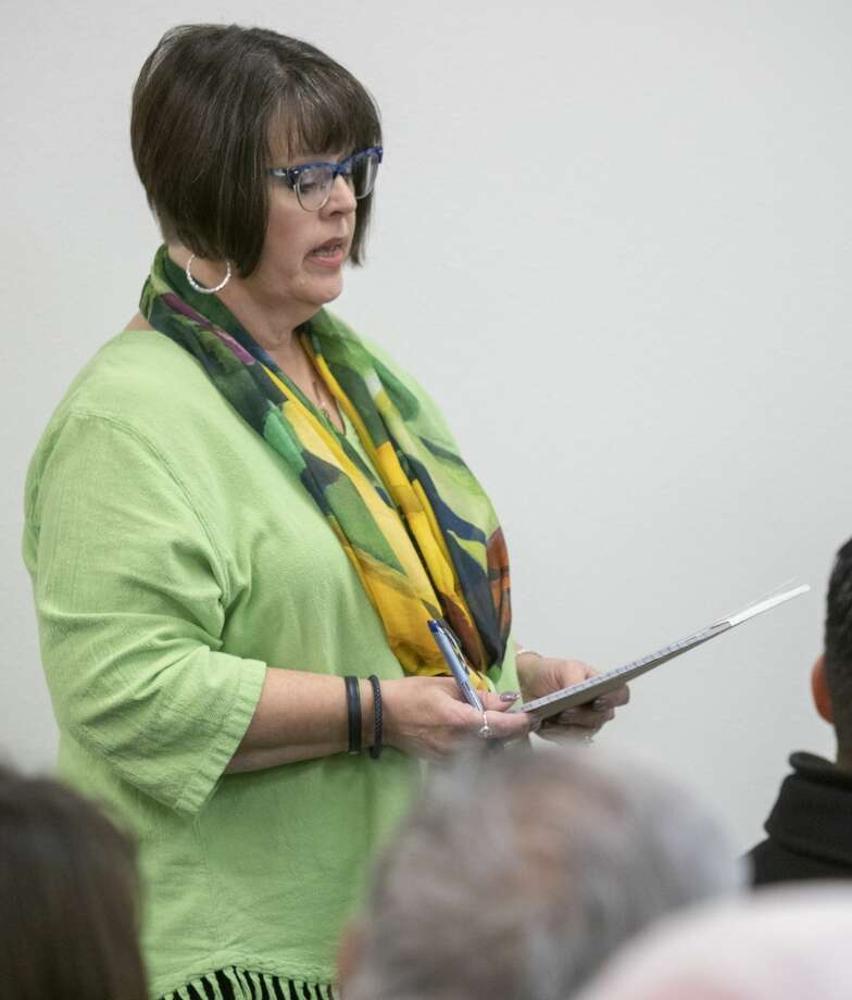 Debra Land, Midland County Elections Administrator, speaks 12/20/19 to the Midland County Elections Commission during a public hearing concerning the past election troubles. Tim Fischer/Reporter-Telegram Photo: Tim Fischer/Midland Reporter-Telegram