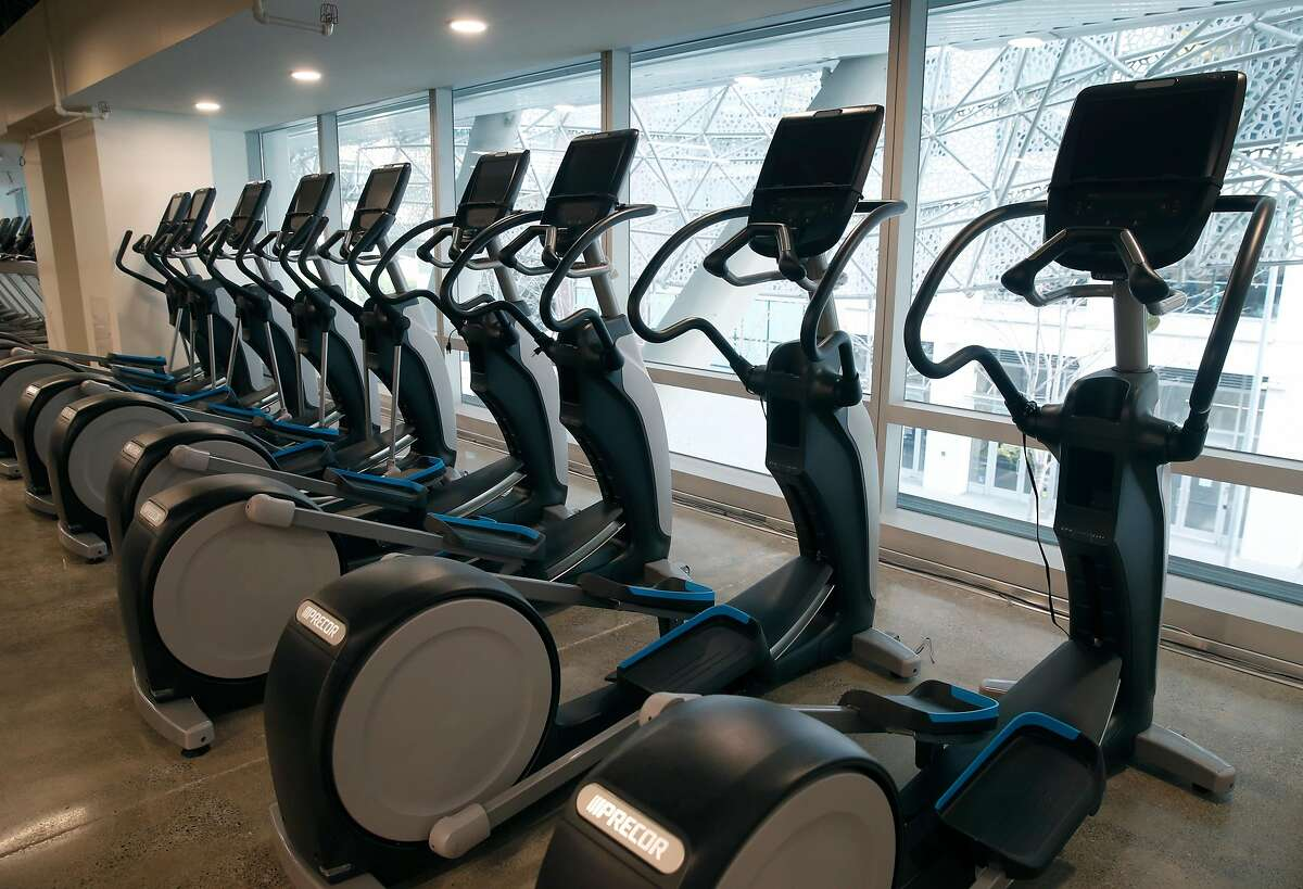 Exercise equipment is installed in the Fitness SF gym, opening just after Christmas, at the Transbay Transit Center in San Francisco, Calif. on Friday, Dec. 20, 2019. It's been nearly six months since the center reopened after the lengthy and unexpected closure to repair cracked steel beams.